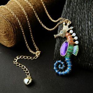 Rhinestone Enamel Pearl SEAHORSE Necklace NEW